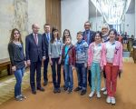 Farewell Ukrainian children with the Prime Minister of the Czech Republic